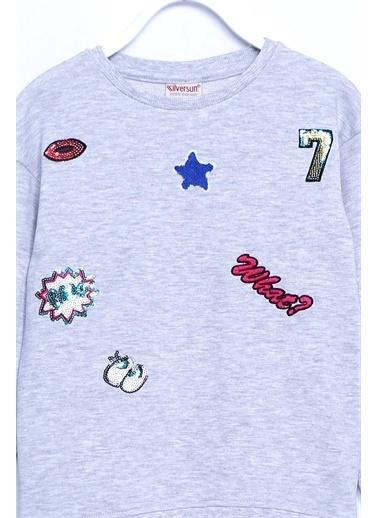 Silversun Kids Sweat Shirt Örme Uzun Kollu Aplik Desen Sweatshirt Kız Çocuk Js 210127 Gri